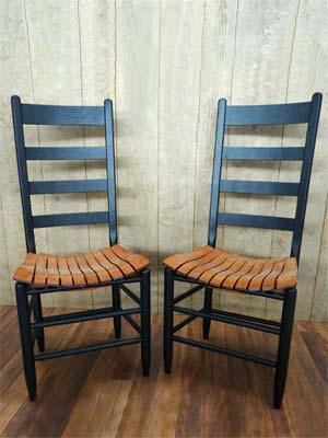 19T Cottage Tall Ladder Back ChairIndigo Black W/Village Oak Slat Seat